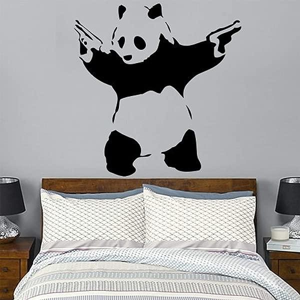 班克斯枪携带熊猫墙贴花艺术贴纸休息室客厅卧室