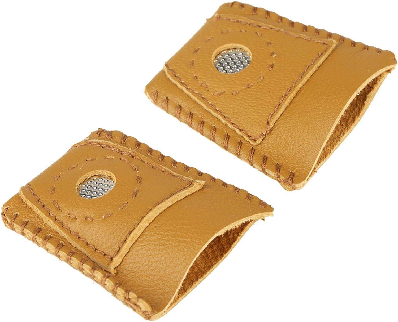 Wilecolly Dedal de Cuero, 2 Piezas Juegos de Dedos de dedal de Cuero de Gran tamaño con Punta de Metal Accesorio de Costura a Mano Accesorios de Costura
