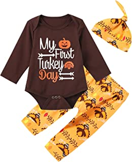 Aslaylme Thanksgiving Day Outfit Set Baby Boys Girls Little Turkey Romper