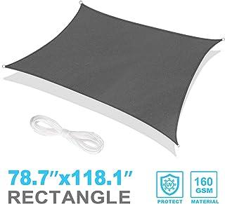 RATEL Toldo Vela de Sombra Rectangular Gris 2 x 3 m, protección 95% UV y Transpirable Impermeable, para Jardín, Patio, Exteriores, Pergola Decking