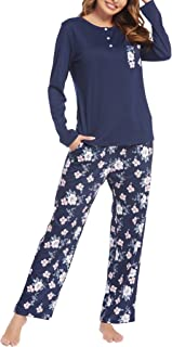 Sponsored Ad - Cloth & Trim Womens Pajamas Set with Pockets Long Sleeve Shirt and Pajama Pants Loungewear Set Three Button...