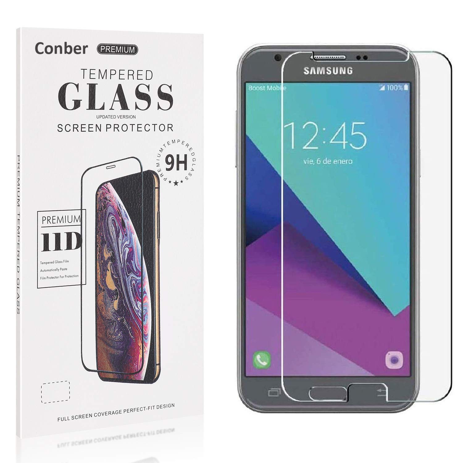 Conber Screen Protector for Max 73% OFF Samsung Bombing new work Galaxy 2017 Pack J3 1 9H