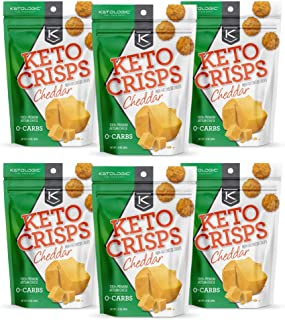 KetoLogic Keto Crisps, Cheddar | Low Carb, High Fat, High Protein, Gluten Free | Sustainably Sourced, Oven Baked Keto Snack | 1.75 Oz Per Bag, 6 Pack