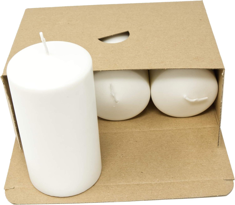 Set mit 3 Stumpenkerzen - 70 mm x 130 mm Coraz Home Set von nat/ürlichen Stumpenkerzen Duftloses nat/ürliches Wachs Paraffinfrei Nat/ürliche wei/ße Kerzen Nachtlichter Kunststofffrei in Kraftbox