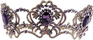 Lefox Purple Rhinestone Big Queen Flower Crown Bridal Wedding Jewelry Tiara Crown Vintage Headband Accessories(#63)