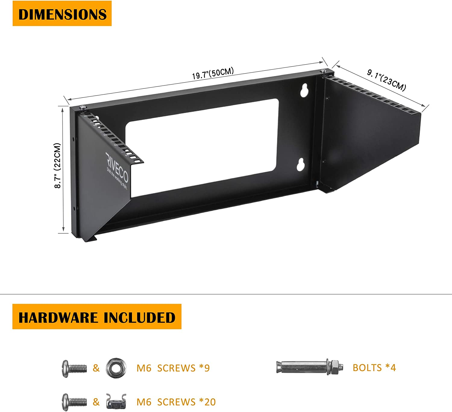 RIVECO 5U Wall Mount Patch Panel Vertical Bracket Firm Constructed Easy Assembly Narrow Space Mounting Rack for Networking Equipment Black