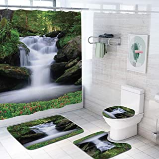 Waterfall 69x84 inch Shower Curtain Sets,Dream Like Image of Waterfall with Trees and Flowers in Forest Mother Nature Toilet Pad Cover Bath Mat Shower Curtain Set 4 pcs Set,Green White