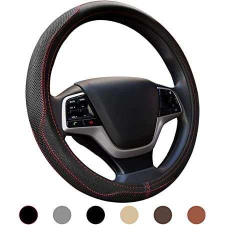 Universal 15 Inch Microfiber Leather Steering Wheel Covers Carbon Fiber Breathable Anti Slip Auto Handle Accessories for Men Edomi Car Steering Wheel Cover Black