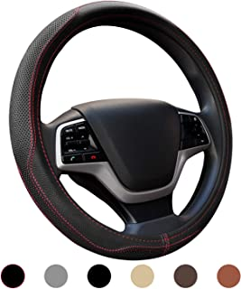 Ylife Microfiber Leather Car Steering Wheel Cover, Universal 15 inch Breathable Anti Slip Auto Steering Wheel Covers, Black and Red