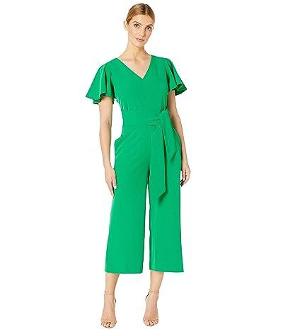 Tahari by ASL Short Sleeve Wrap Front Crepe Jumpsuit (Tropical Green) Women