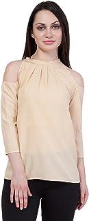 American-Elm Women's Beige Cold Shoulder Top