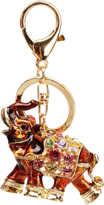 LKEEP Bohemian Style Elephant Bag Charm Pendant Colorful Rhinestones Car Keychain Keyring Handbag Decoration,Dark Coffee Color