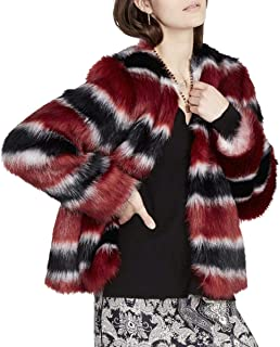 RACHEL Rachel Roy Womens Faux Fur Striped Jacket Black M
