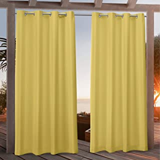 Exclusive Home Curtains Canvas Indoor/Outdoor Grommet Top Curtain Panel Pair, 54x96, Butter