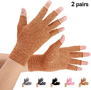 Brace Master 2 Pairs Compression Arthritis Gloves Support and Warmth for Hands, Finger Joint, Relieve Pain from RSI, Carpal Tunnel and Tendonitis for Women and Men (Brown, Small)
