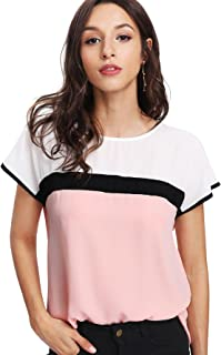 Women's Summer Triple Color Block Blouse Loose Fit Casual Teen Top Tshirt
