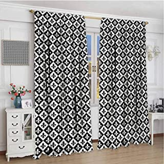 Paddy Benedict Window Blackout Curtains W72 x L84 Inch,for Bedroom,Nursery,Living Room,Fleur De Lis,Checkerboard Pattern Rectangles European Heraldic Design Monochrome Emblem,Black White