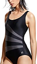 SYROKAN Women's Sport One Piece Swimsuit with Bra Competitive Swimsuits Striped