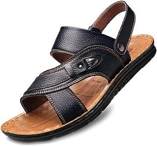 YVWTUC Męskie skórzane sandały w średnim wieku męskie kapcie letnie miękkie dno