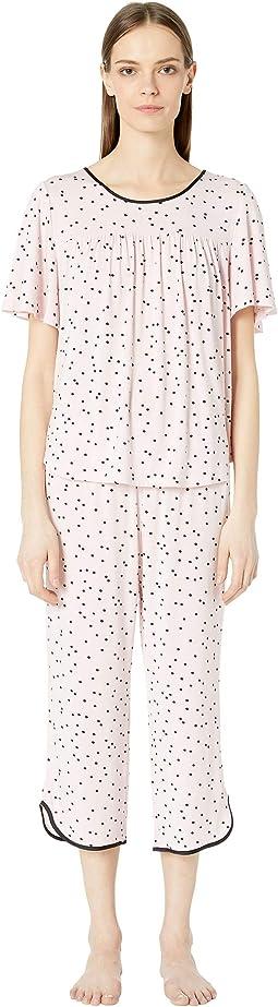 Evergreen Cropped Short Sleeve Pajama Set