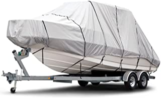 Budge B-1221-X8 1200 Denier Hard Top/T-Top Boat Cover Fits 24 ft. to 26 ft. Beam Width Up to 106 in. 1200 Denier Hard Top/T-Top Boat Cover, Gray