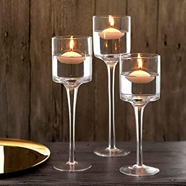 Glass Candleholders Tea Light Candle Holders Clear Wedding Weddings Hurricane Tall Elegant Ideal For Dining Party Home Decor