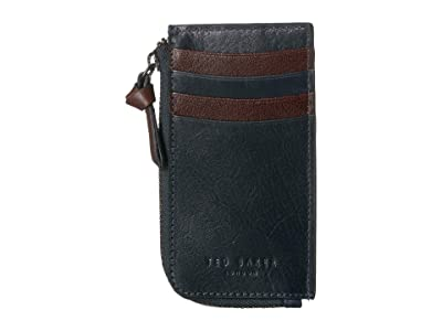 Ted Baker Bombay Leather Zip-Up Card Holder (Navy) Credit card Wallet