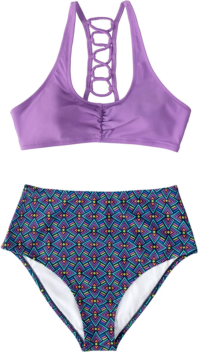 CUPSHE Women's High Waisted Bikini Lace Up Two Piece Swimsuits