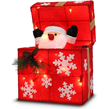 """Later M 01 12"""" Gift Box Automatically Open, Santa, Built-in 18 LED Lights, Ip44 Water-Resistant, UL&CE Certificate, Decoration/Christmas Outdoor decorati, Red"""