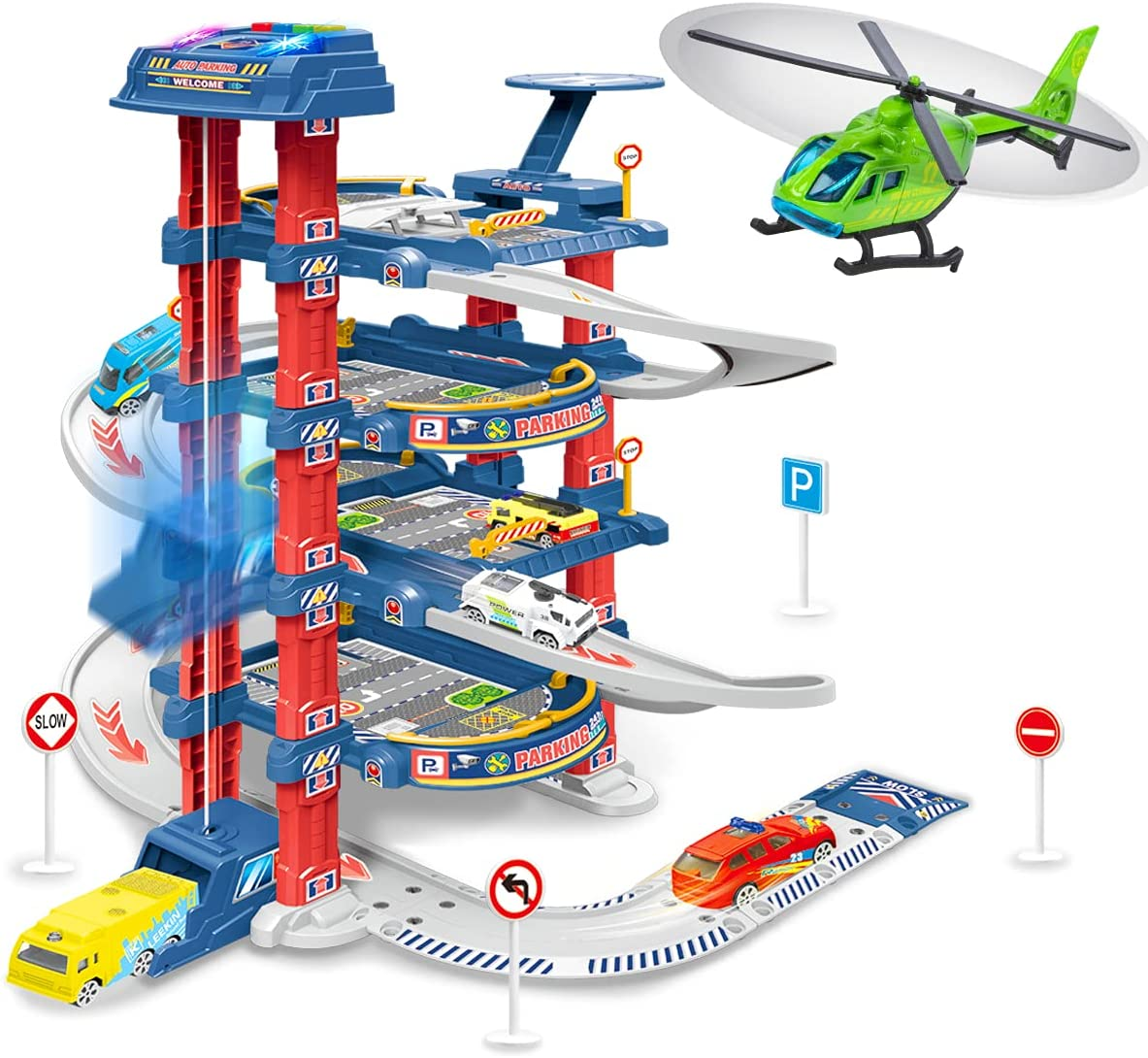 UNIH City Ultimate Garage Race Car Track 5 2021 autumn and winter new Fashionable with Sets 1 Cars H