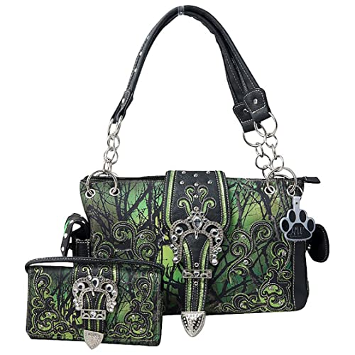 eb2b95d0b6 HW Collection Western Camo Camouflage Rhinestone Buckle Concealed Carry  Handbag and Crossbody Wallet