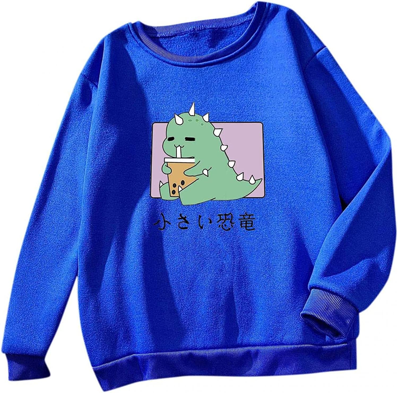 Toeava Long Sleeve Shirts for Women Casual Dinosaur Graphic Tee Shirts Crew Neck Sweatshirts Pullover Tunic Tops