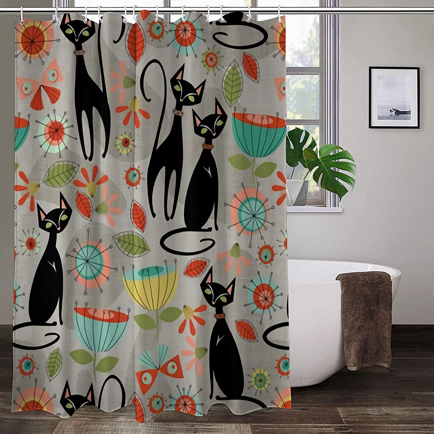 Shower Curtain Set with 12 Hooks Max 48% OFF Century mid Blossoms Cats Department store Patt