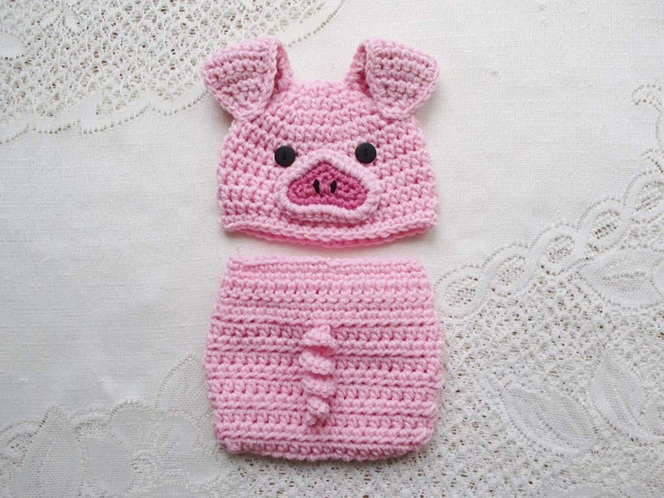 Crochet Baby Pig Hat and Diaper Cover Set - Photo Prop - Available in 0 to 24 Months