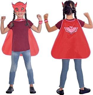 مجموعة ازياء تنكرية بتصميم ماسك للوجه ورداء باللون الاحمر للاطفال بعمر 4-8 سنوات، موديل 9903735 من امسكان
