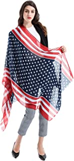 American Flag Scarf - MeiMeiDa Large Womens Fashionable US Flag Scarf, Patriotic American Flag Infinity Scarves/Shawl/Beach Apron for Women as USA Apparel Gifts, Cotton & Linen, 72 x 28