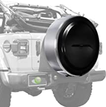 Boomerang - MasterSeries Hard JL Tire Cover - (255/70R18) - (Painted Plastic Face & Polished Stainless Ring) for Jeep Wrangler JL (with Back-up Camera) - Sahara (2018-2020) - Black