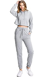 Ambiance Apparel Women's Juniors Crop Hoodie and Jogger Pants, Lounge Set