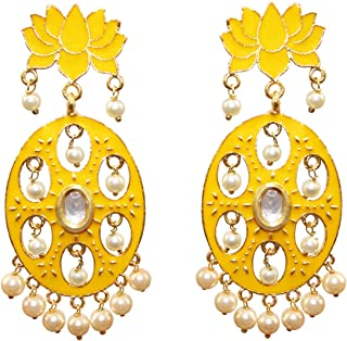 cbde87c42 The Mewar Collection Meenakari Lotus Shape Gold Plated Kundan Brass Yellow  Earring Set for Women and