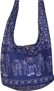 Hippie Elephant Sling Crossbody Bag Shoulder Bag Purse Thai Top Zip Handmade New Color : Blue