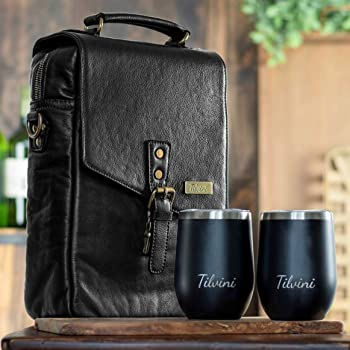 Tilvini Leather 2 Bottle Insulated Wine Bag And Tumblers. Wine Cooler Bag For Beach. Picnic Basket Wine Tote & Wine Glass Gift Set. Wine Gifts For Women & Men. Wine Accessories Travel Carrier Purse