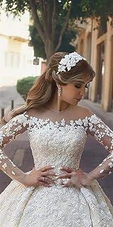 Abiti da sposa Vestido De Noiva di lusso in rilievo Appliques floreali abito da sposa elegante puro maniche lunghe Abiti d...