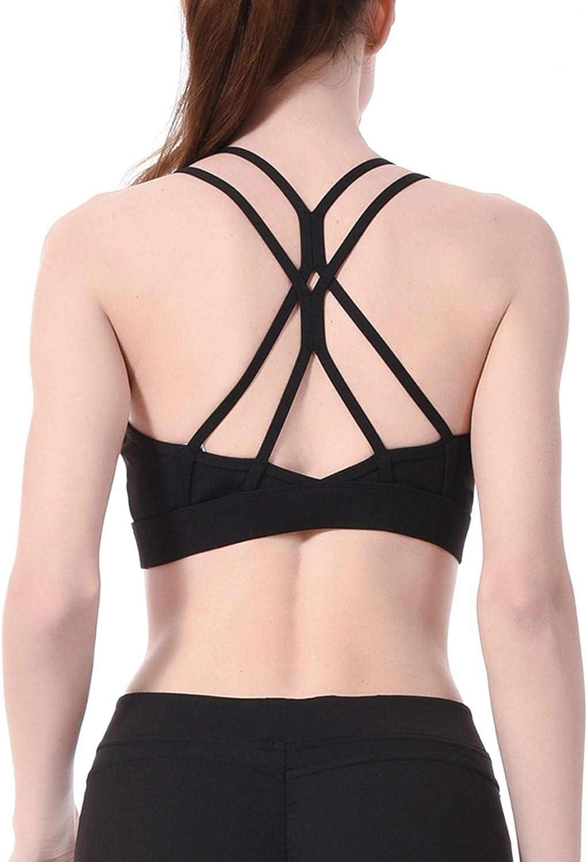 Zando Sports Bras for Women Strappy Sports Bra Padded Criss Cross Back Yoga Bra Removable Cups Bras Gym Workout Top Bra