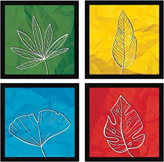 ArtX Paper Abstract Leaves Leaf Wall Art Framed Paintings, 21 X 21 inches(Combined), 10.5 X 10.5 each, Nature, Multicolor,...