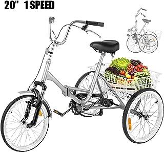 Happybuy 20 Inch Adult Tricycle Folding 3 Wheel Bike Adult Tricycle Trike Cruise Bike Large Size Basket for Recreation Shopping Exercise Men Women Bike (Silver 1 Speed Foldable)
