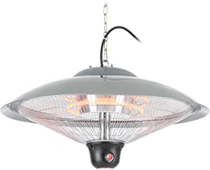 DURAMAXX Heizsporn • Calefactor de Techo • radiador infrarrojo • 3 Niveles de Calentamiento: 700, 1300 o 2000 W • iluminación LED • Clase de protección: IP34 • Control Remoto • Plateado