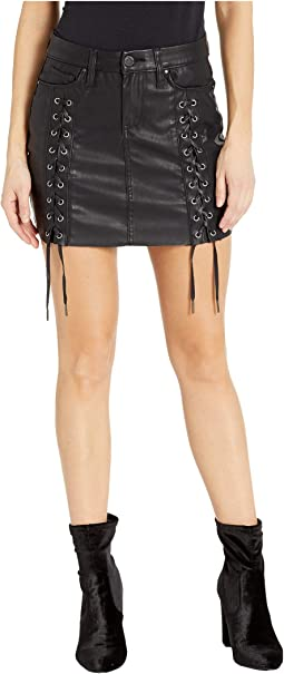 Vegan Leather Lace-Up Mini Skirt in Carbon