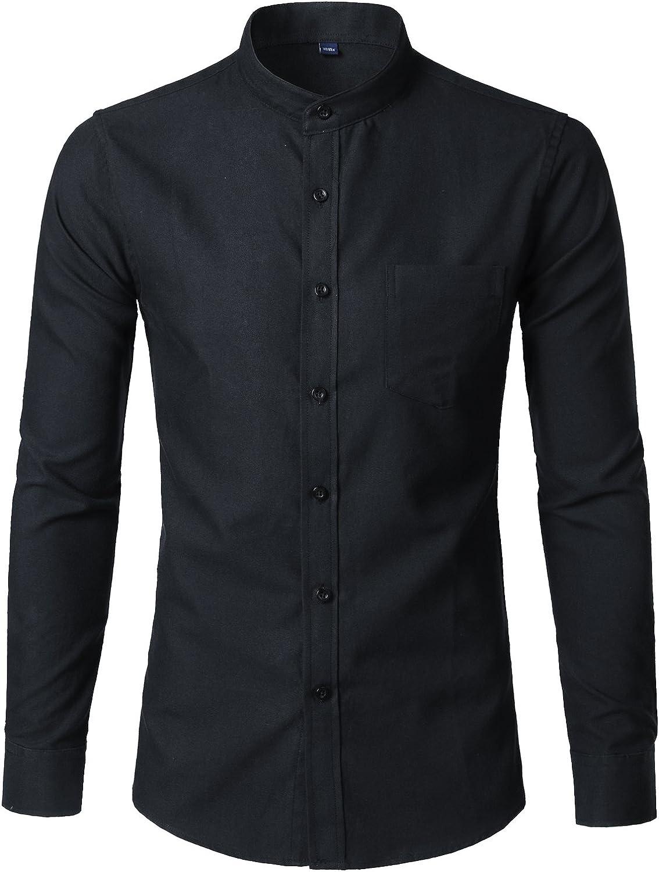 WHATLEES Translated Mens Hipster Mandarin Collar Fit Sleeve Casua Long wholesale Slim