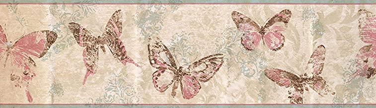 Wallpaper Border Abstract Butterflies Floral Damask Wall Decor Retro Classic 15' x 6.75