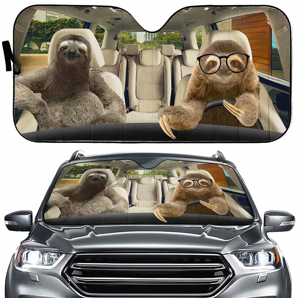 Funny Sloth Driving Auto security Windshield Family Shade Sun Max 57% OFF Car Sunshad